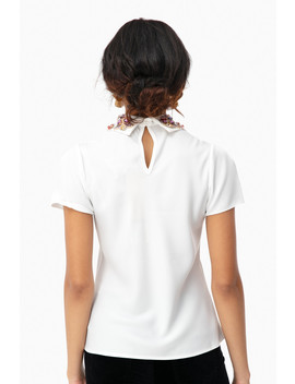 Embellished Collar Top by Pat Bo