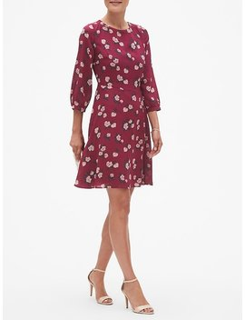 Floral Print Asymmetrical Pleat Fit And Flare Dress by Banana Republic Factory