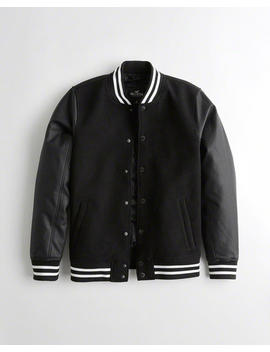 Faux Leather Varsity Bomber Jacket by Hollister