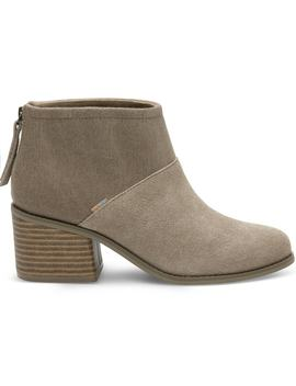 Desert Taupe Suede And Felt Women's Lacy Booties by Toms