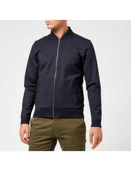 Ted Baker Men's Ruubes Jersey Bomber Jacket   Navy by The Hut