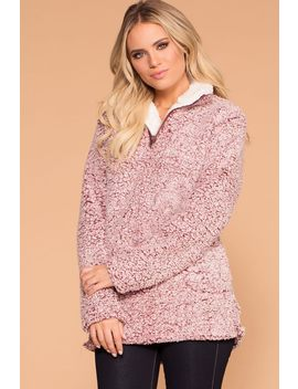 Snowstorm Wine Sherpa Pullover Jacket Top by Priceless