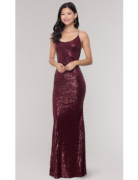 Long Sequin Scoop Neck Prom Dress by Promgirl