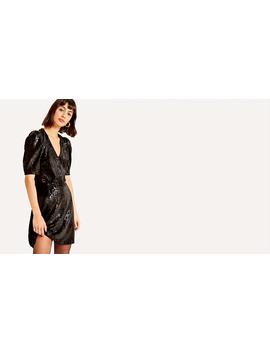 Black Snakeskin Puff Sleeve Mini Dress by Nobody's Child