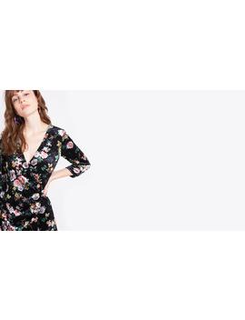 Black Maisy Floral Velvet Button Wrap Front Dress by Nobody's Child