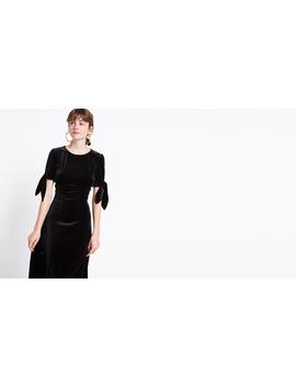 Velvet Black Tie Sleeve Midaxi Dress by Nobody's Child