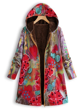 Floral Print Hooded Long Sleeve Vintage Plus Size Jacket by Newchic