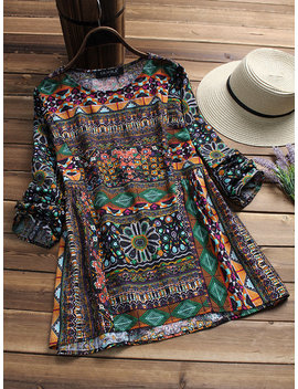 Ethnic Geometric Print Long Sleeve Loose O Neck T Shirts For Women by Newchic