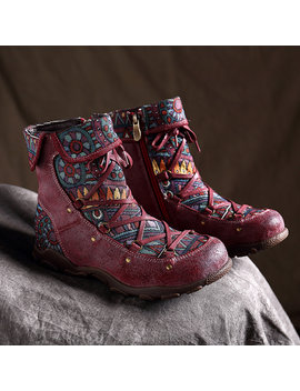 Socofy Bohemian Sooo Comfy Genuine Leather Splicing Jacquard Lace Up Zipper Big Head Flat Boots by Newchic