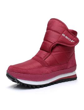 Waterproof Hook Loop Platform Warm Snow Boots by Newchic