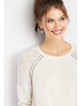 Raglan Trim Ruched Front Sweatshirt by Maurices