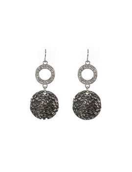Pave &Amp; Metal Disc Drop Earring by Ricki's