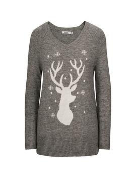 Reindeer Plush V Neck Sweater by Ricki's