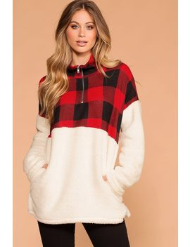 Jane Sherpa Plaid Pullover by Priceless