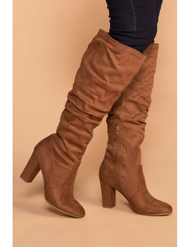 Cassia Chestnut Knee High Boots by Priceless