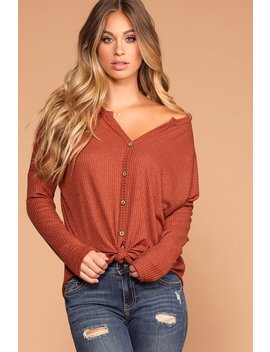 Raquel Rust Button Tie Front Waffle Knit Top by Priceless