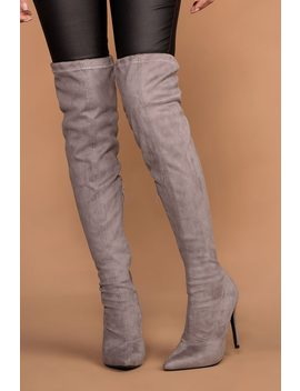 Jackie Grey Suede Over The Knee Boots by Priceless