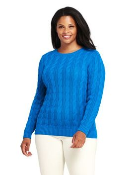 Women's Plus Size Drifter Cotton Cable Knit Sweater Crewneck by Lands' End