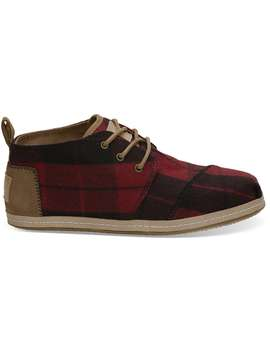 Red Plaid Felt Women's Bota Boots by Toms
