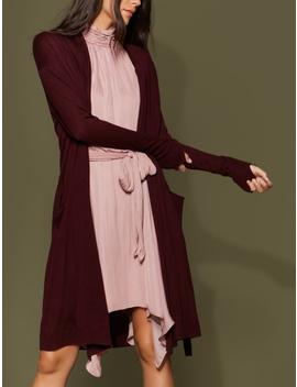 Long Sleeve Waist Sash Cardigan by Halston