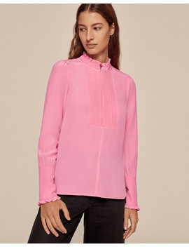Silk Zip Front Frill Blouse by Me+Em