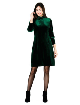 Mock Neck Stretch Velvet Shift Dress by Eshakti