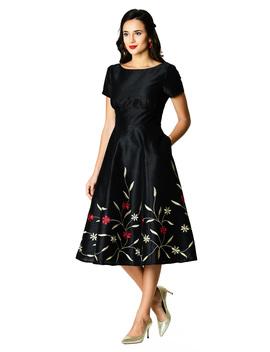 Floral Vine Embellished Dupioni Dress by Eshakti