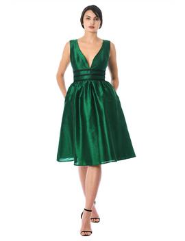 Plunge Contrast Trim Dupioni Dress by Eshakti