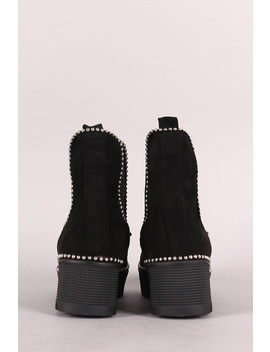 Beaded Trim Lug Sole Flatform Gore Ankle Booties by Urbanog