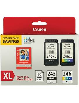 Canon Pg245 Xl/Cl246 Xl Black/Tricolor Xl Multi Pack (2 Cart Per Pack) With Paper (8278 B005 Aa) by Canon