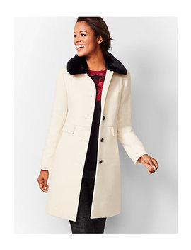 Faux Fur Trim Wool Coat   Ivory by Talbots