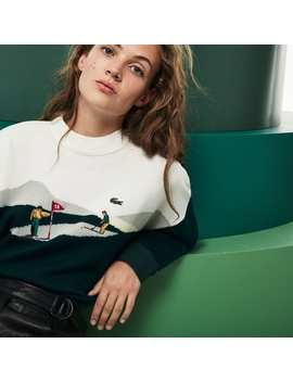 Women's Fashion Show Embroidered Wool Knit Sweater by Lacoste