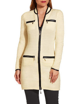 Textured Piped Sweater Coat by Boston Proper