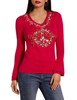 Peace Embellished V Neck Sweater by Boston Proper