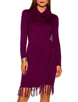 Fringe Cowl Neck Dress by Boston Proper