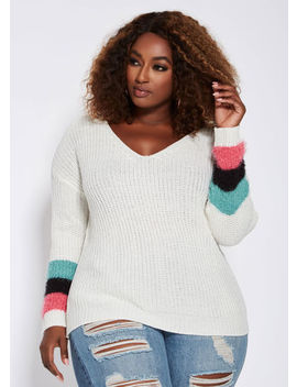 V Neck Sweater With Feather Trim by Ashley Stewart