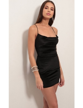Cowl Neck Velvet Dress In Black by Lucy In The Sky