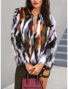 Multi Color Open Front Fluffy Coat by Ivrose