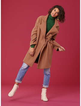 Long Sleeve Belted Wool Jacket by Dvf