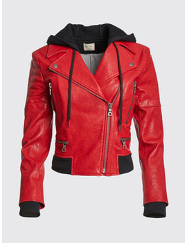 Avril Hood Combo Leather Jacket by Alice And Olivia