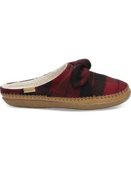 Red Plaid Felt Bow Women's Ivy Slippers by Toms