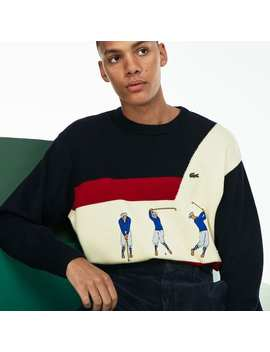 Men's Fashion Show Crew Neck Embroidered Wool Knit Sweater by Lacoste