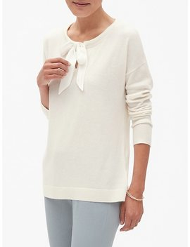 Petite Bow Tie Crew Neck Sweater by Banana Republic Factory