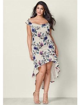 Plus Size Printed High Low Dress by Venus