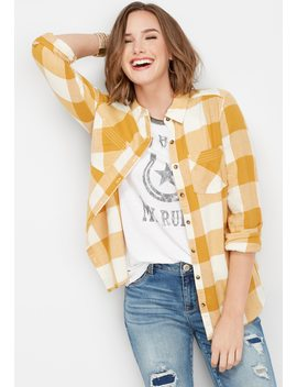 Plaid Stitch Pocket Button Down Shirt by Maurices