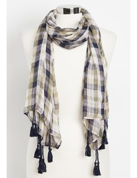 Plaid Tassel Oblong Scarf by Maurices