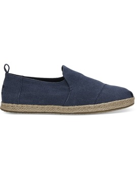 Navy Washed Canvas Men's Deconstructed Alpargatas by Toms