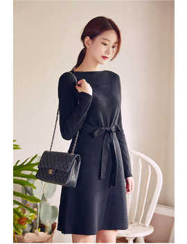 Long Sleeve Knit Waist Bow Dress by Chuu