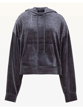 Bead Embellished Lightweight Velour Hooded Pullover by Juicy Couture