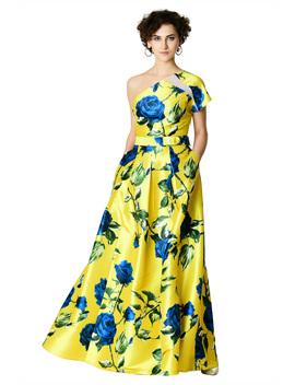 One Shoulder Rose Print Dupioni Maxi Dress by Eshakti